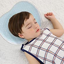 JOYNCLEON Baby Pillow for Preventing Flat Head Syndrome_Baby Head Shaped Pillow for Infant Newborn Sleeping Blue
