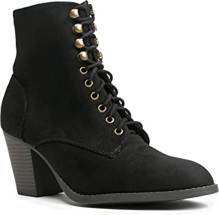 J. Adams Brady Ankle Bootie - Suede Lace Up Closed Toe Block Heel Ankle Boot