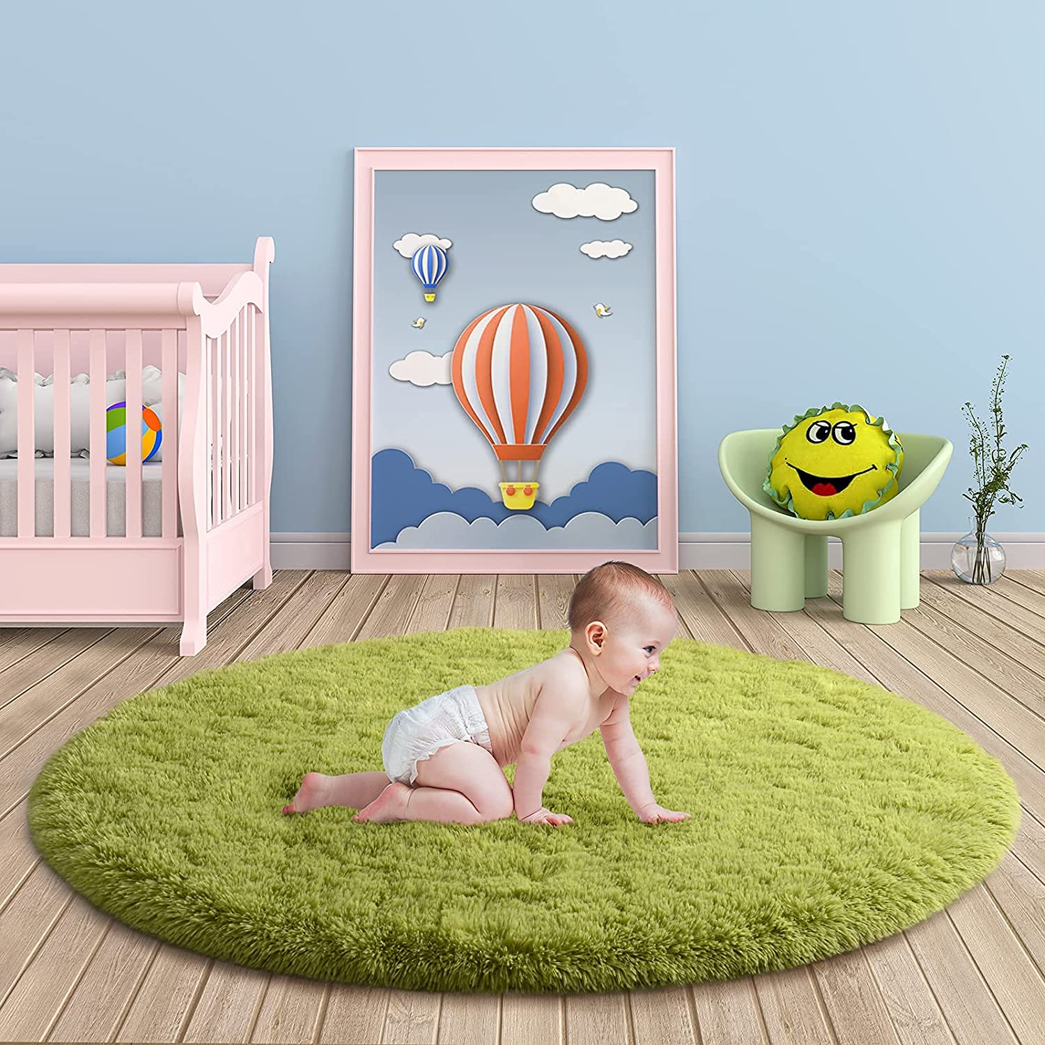 Merelax Green Round Rug for Kids Circula 4'x4' Shaggy Soft Rapid rise Room At the price