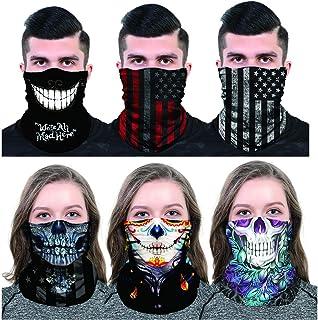 ATIMIGO Neck Gaiter Face Mask Mouth Cover Bandanas Dust Mask Scarf Headwear Balaclavas for Outdoors, Festivals, Sports-6 Pack