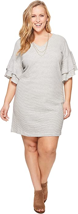 Plus Size Stripe Ruffle Mini Dress