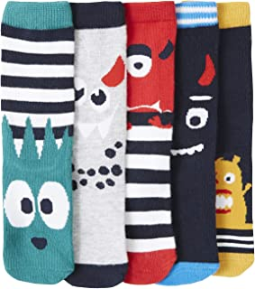 VERTBAUDET, Lote de 5 pares de calcetines medianos monstruo para niño VERDE OSCURO BICOLOR/MULTICOLO 19/22