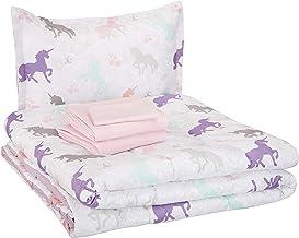 AmazonBasics Easy Care Super Soft Microfiber Kid's Bed-in-a-Bag Bedding Set - Twin, Purple Unicorns