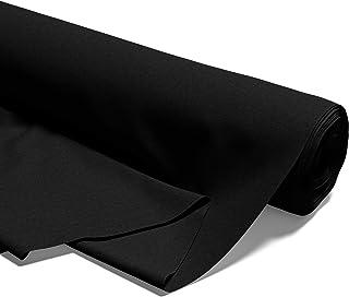 tessuto al metro in cotone al 100% per cucito tinta unita (Nero, 500 x 160 cm)