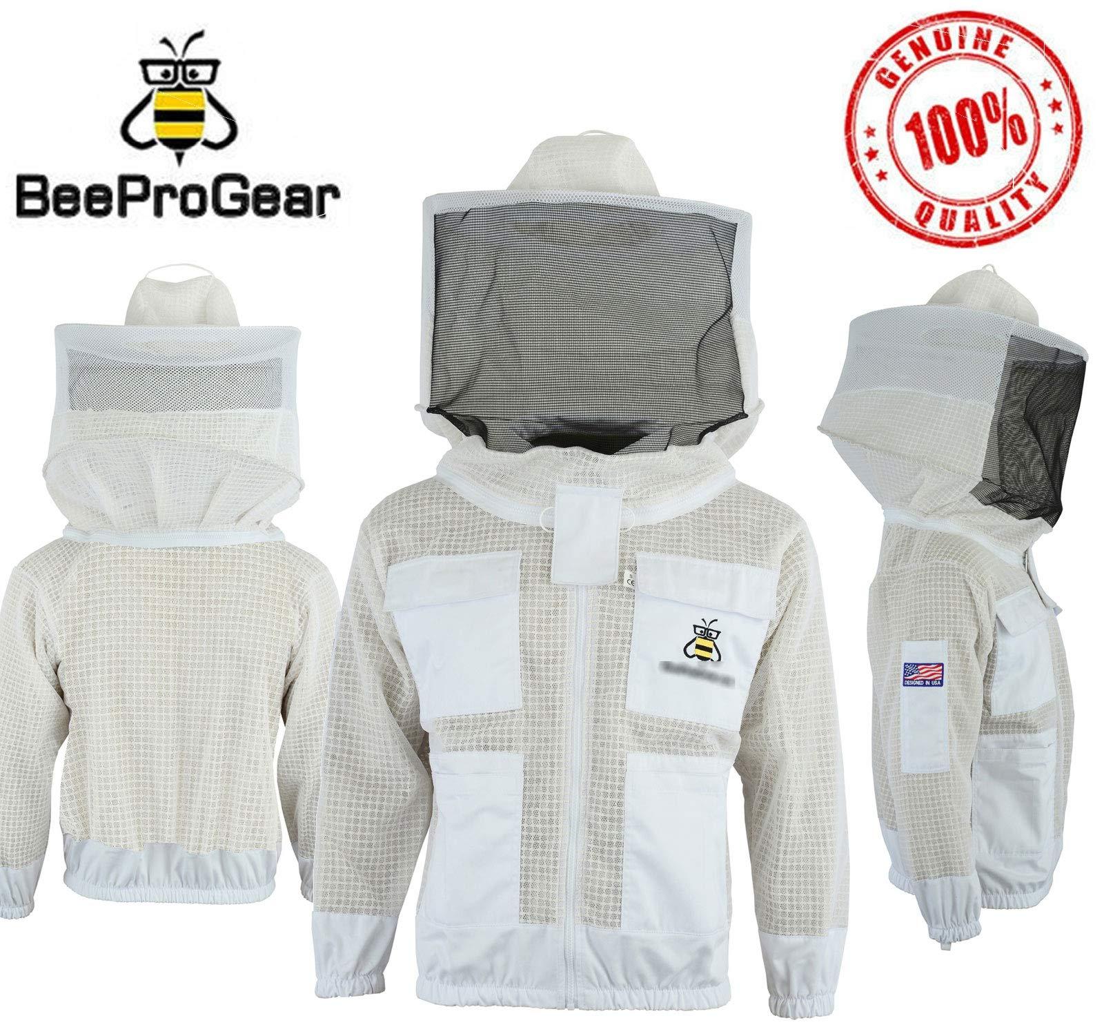 JRVG Giacca Bee con Guanti Liberi 3 Strati di Sicurezza Completamente ventilati Giacca Unisex in Tessuto Bianco per Apicoltura Abbigliamento Protettivo per Velo Rotondo Apicoltura