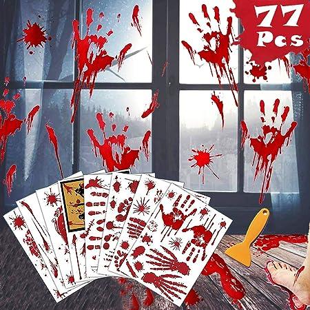 IHUIXINHE Halloween Bloody Handprint Footprint Decorations /& 3D Bats Stickers 8 Sheets Bloody Window Wall Decal Floor Clings 52 Pack 44 Pack Plastic Wall Bat Decals for Halloween Party Supplies