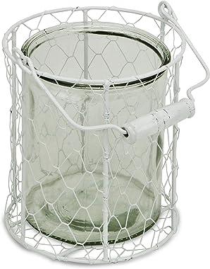 Cheung's 15S001WXL Round Glass Jar in White Wire Basket