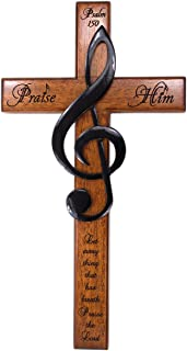 H.J. Sherman Praise Him 30cm Carved Wooden Solid Mahogany Wall Cross with Treble Clef and Scripture from Psalm 150