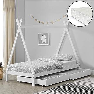 [en.casa] Barnsäng tipi med 2 lådor och madrasser 90 x 200 cm utdragslåda med kallskummadrass EKO-Tex Standard 100 Vit