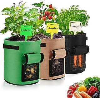 Aubliss 3 Pack 7 Gallon Potato Grow Bag, Tomato Carrots Vegetable Planter Pots, Thick Breathable Non-Woven Fabric Pots wit...