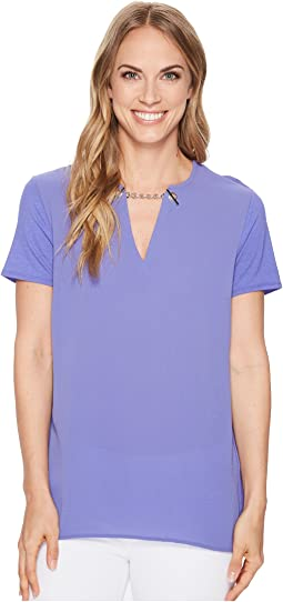 MICHAEL Michael Kors Woven Mix Short Sleeve Chain Top