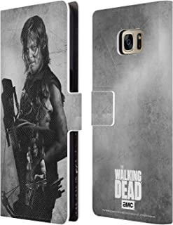 Official AMC The Walking Dead Daryl Double Exposure Leather Book Wallet Case Cover Compatible for Samsung Galaxy S7 Edge