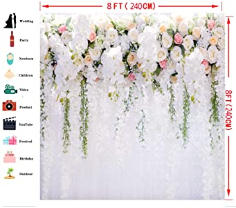 8x8FT Vinyl Photography Backdrop,Kids,Cows with Flowers Farm Background for Graduation Prom Dance Decor Photo Booth Studio Prop Banner