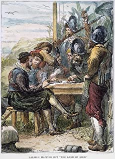Sir Walter Raleigh N(1552-1618) English Adventurer Courtier And Writer Raleigh And His Men Map The Discoveries Of Their Expedition Along The Orinoco River (In Modern Venezuela) 1596 Wood Engraving 19T