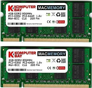 Komputerbay MACMEMORY - Kit de Memoria de 6 GB (módulo de 4GB y 2GB, PC2-6300, 800MHz, DDR2, SODIMM) para iMac (20