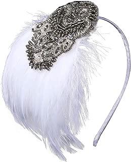 BABEYOND Great Gatsby Headband Art Deco Headpiece 1920s Flapper Headband 1920s Flapper Gatsby Hair Accessories (White)