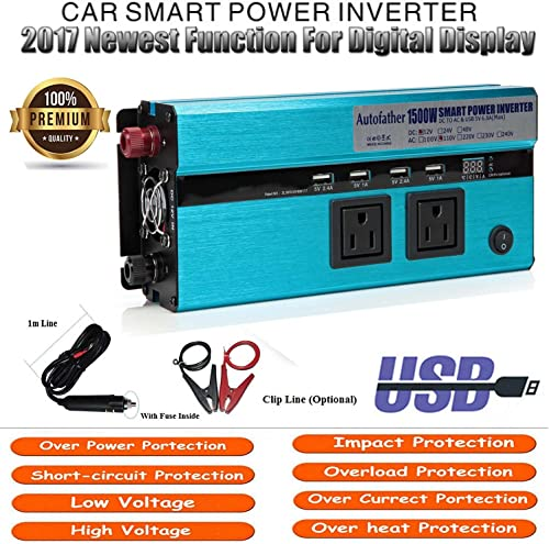 lowest 1500W WATT Car Vehicle 2021 Power Inverter with Digital Display Function outlet sale Laptop Phone Charger DC to AC Converter Built-in Cooling Fan outlet sale