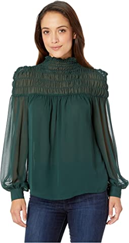 Petite Long Sleeve Poly Chiffon Smocked Mock Neck Blouse