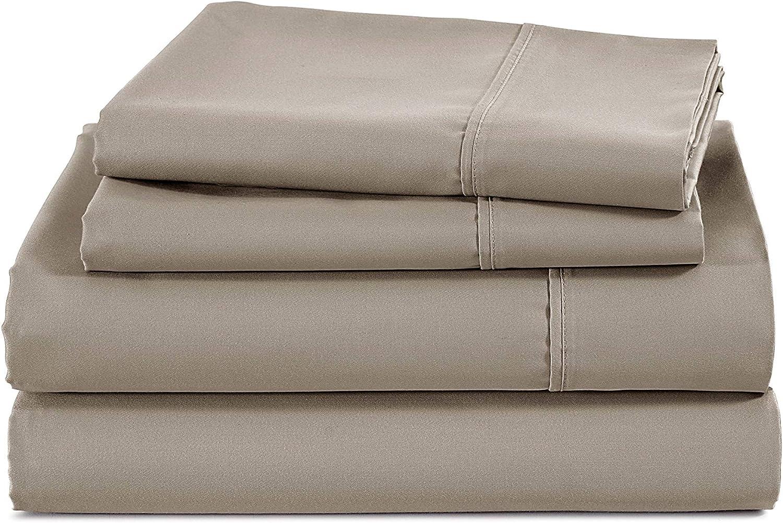 400 Thread Count 100% Cotton Sheet-Mocha-Cal Pi Cheap mail order Now free shipping sales Sheet Set 4 King