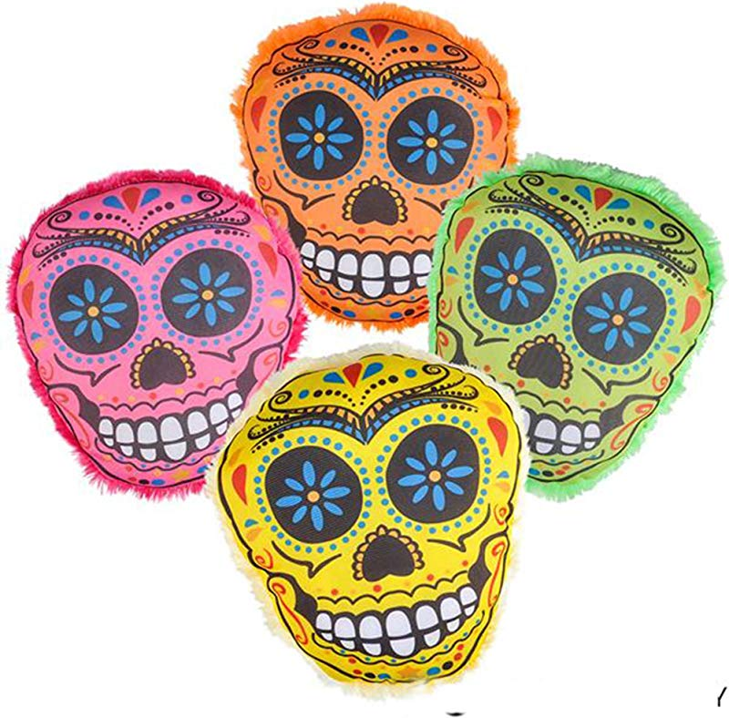 4 PIECE SET 8 Candy Skull Pillow 1 Of Each Color