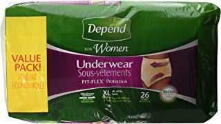 Depend for Women Underwear Maximum, Extra Large, Case/52 (2 Value Packs of 26)