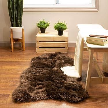 Super Area Rugs Silky Shag Rug Faux Fur Sheepskin Rugs in Dark Brown, 2' x 4' Sheepskin