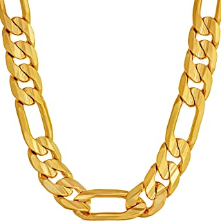 9mm Figaro Chain Necklace 24k Real Gold Plated for Men...