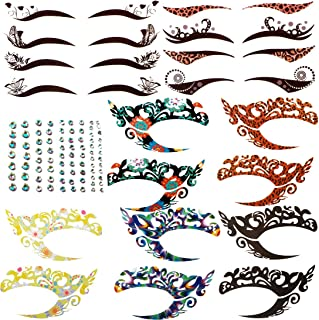 kilofly 8 Sets Temporary Eye Tattoo Makeup Transfer Stickers Crystal Gem Liners