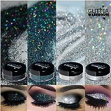 4pc GlitterWarehouse Holographic Loose Glitter Eye Shadow Powder Platinum Diamond Silver, Diamond Black Smoky (20g Jars)