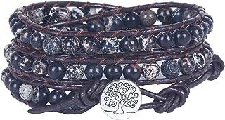 Bonnie 3 Wrap Tree of Life Bracelet for Women Healing Imperial Jasper Bead Leather Wrap