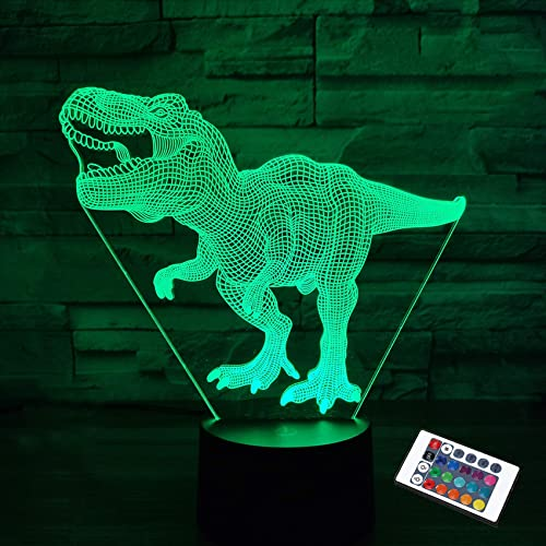 Dinosaur Lamp,FULLOSUN 3D Illusion Night Light Kids Toy, 16 Colors Changing Remote Control Optical Bedroom Decor Perf...
