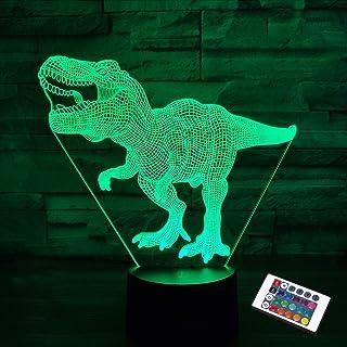 Regalos de dinosaurio, luz nocturna para niños, dinosaurio T-rex 3D luz nocturna lámpara de noche con mando a distancia, 16 colores que cambian de Navidad, Halloween, regalo de cumpleaños para niño