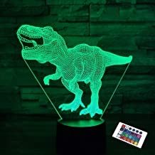 Dinosaur Lamp,FULLOSUN 3D Illusion Night Light Kids Toy, 16 Colors Changing Remote Control Optical Bedroom Decor Perfect B...