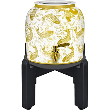 Geo Sports Porcelain Ceramic Crock Water Dispenser. 8 Inch Wood Stand, Stainless Steel Faucet, and Lid Included. Fits 2 to 5 Gallon Jugs. BPA & Lead Free (Shiny Gold Fish Design)