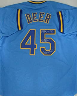 Brewers Outfielder Rob Deer Autographed Signed Custom Replica Milwaukee Blue Jersey 1986-90 - Certified Signature