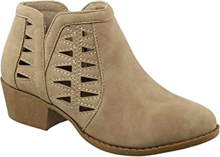 BDshoes Glenda Fashion Cut Out Perforated Ankle Boot with Low Heel for Ladies (Assorted Colors)