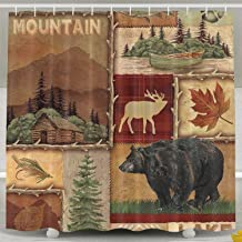 KROWMAET Farmhouse Shower Curtain Maple Leaf Bear Moose Deer Country Style Polyester Waterproof Bath Curtain with 12 Hooks 72