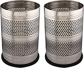Kuber Industries 2 Piece Stainless Steel Garbage Dustbin, 5 litres, Silver