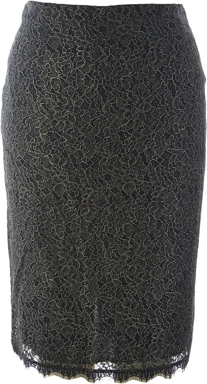 Marina Rinaldi Women's Chanson Lace Straight Skirt Black