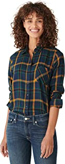 Lucky Brand Women's Long Sleeve Button Up One Pocket Classic Flannel Shirt