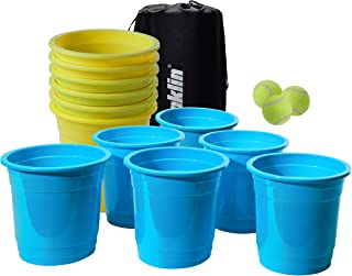 Franklin Sports Bucketz Pong Game – Perfect Tailgate Game and Beach Game – Pong Set Includes 12 Buckets, 3 Balls, and a Carry Case