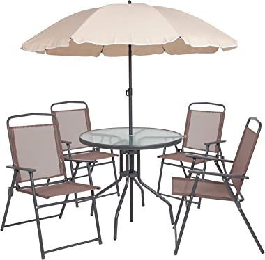 Flash Furniture Nantucket 6 Piece Brown Patio Garden Set with Table, Tan Umbrella and 4 Folding Chairs