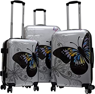 Karriage-Mate Lightweight Hardside Expandable Luggage with Spinner Wheels, Combination Lock (Butterfly)