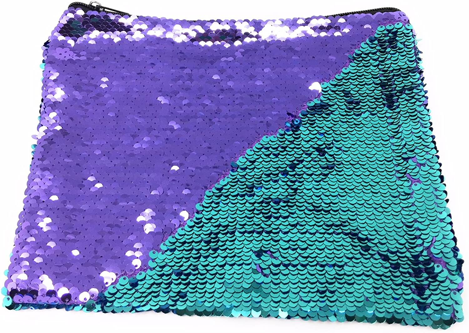 Purple and Teal Mermaid Sequins Pouch  Large