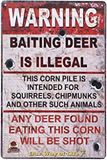 UNIQUELOVER Warning Sign Security, Warning Baiting Deer is Illegal Retro Vintage Retro Rustic Tin Signs Wall Home Decor 12 X 8 Inches