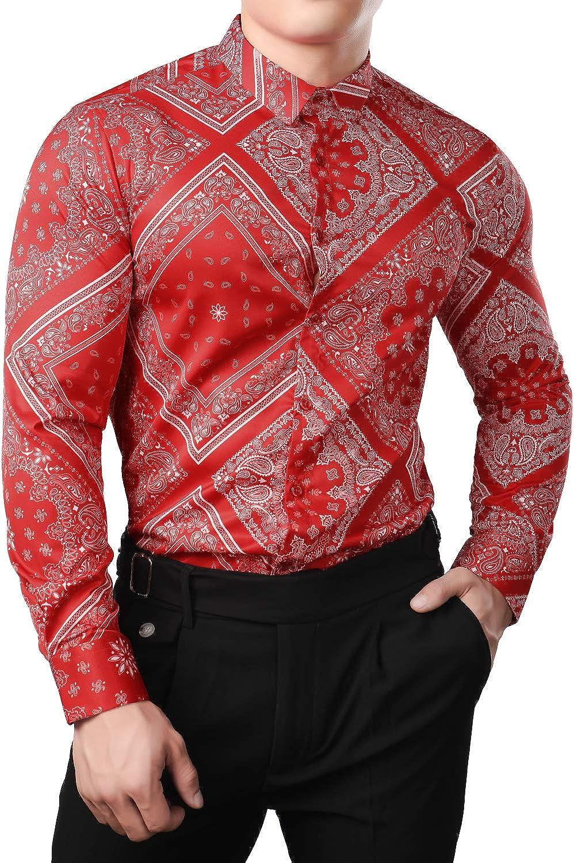 JOGAL Men's Paisley Bandana Print Long Sleeve Button Down Dress Shirts