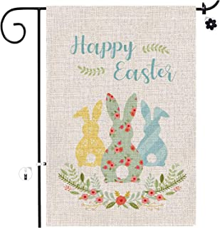 Welcome Easter Garden Flag, 12.5 x 18 Double Sided Easter Bunny Tulips Vertical Burlap House Easter Garden Décor Flags, Sp...