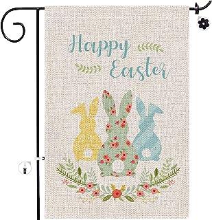 Welcome Easter Garden Flag, 12.5 x 18 Double Sided Easter Bunny Tulips Vertical Burlap House Easter Garden Décor Flags, Sp...