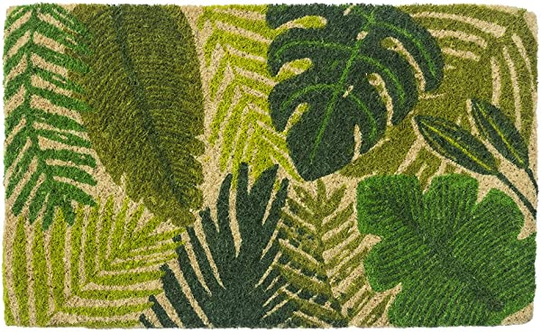 Entryways Tropical Leaves Hand Stenciled All Natural Coconut Fiber Coir Doormat 18 X 30 X 75
