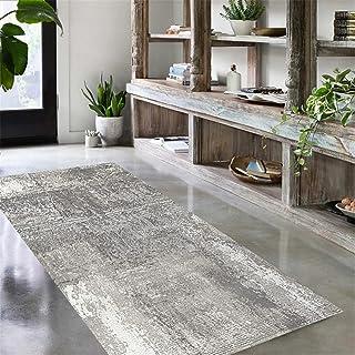 TONGQU Tapis de Couloir Au Mètre, Moderne Gris Antidérapant Lavable Polyester Tapis de Passage pour Couloir/Cuisine/Chambr...